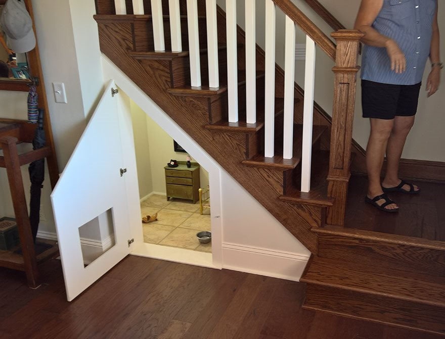 this woman built her dog a miniature bedroom underneath the stairs