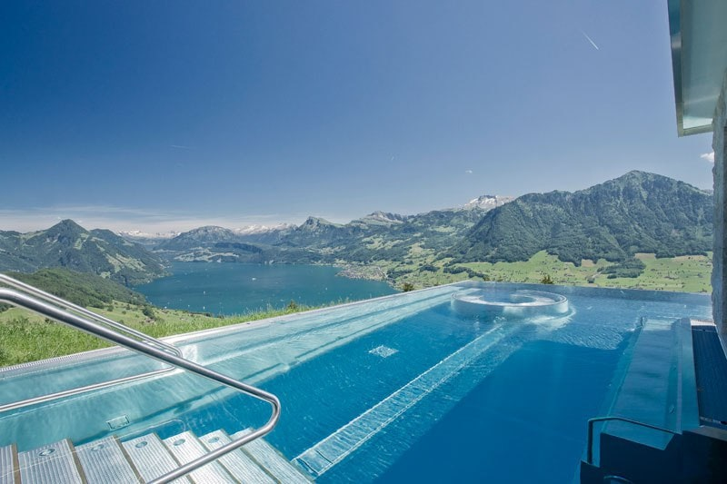 stairway to heaven in the swiss alps descends into a infinity pool