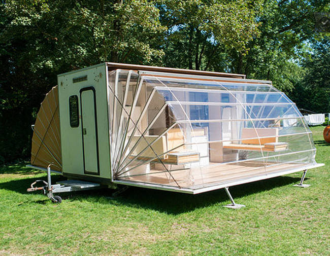 The Cool Ordinary Looking Camper Opens Up Like An Accordion