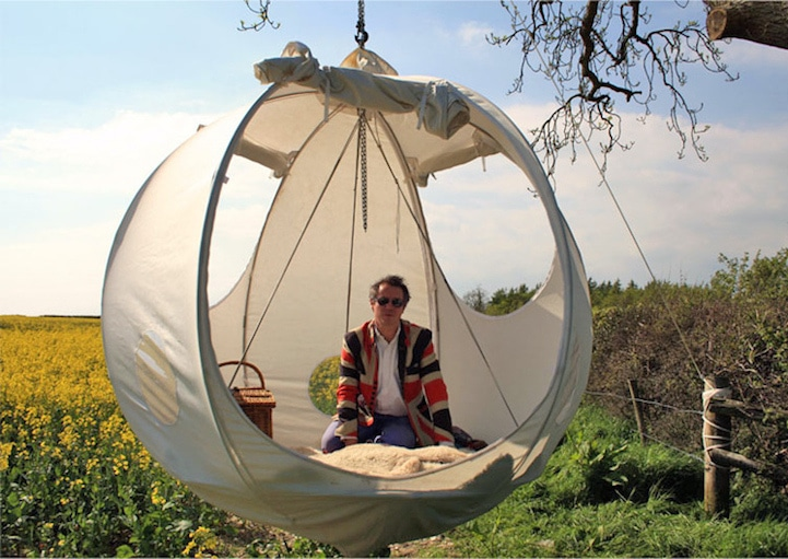 roomoon2 & This Suspended Moon-Shaped Tent Lets You Sleep Closer To The Stars