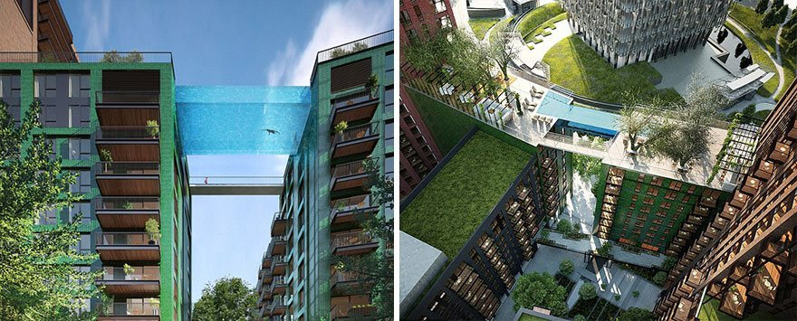World 39 s first glass bottom pool lets you swim 115 feet in the air - Glass bottom pool ...