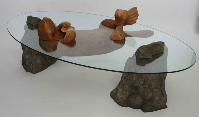 Clever Coffee Tables Designed To Look Like Animals Half Submerged In Water