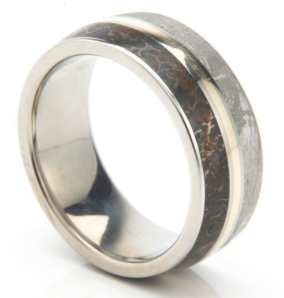 jeweler handcrafts badass rings made from dinosaur bone and meteorite - Dinosaur Bone Wedding Ring