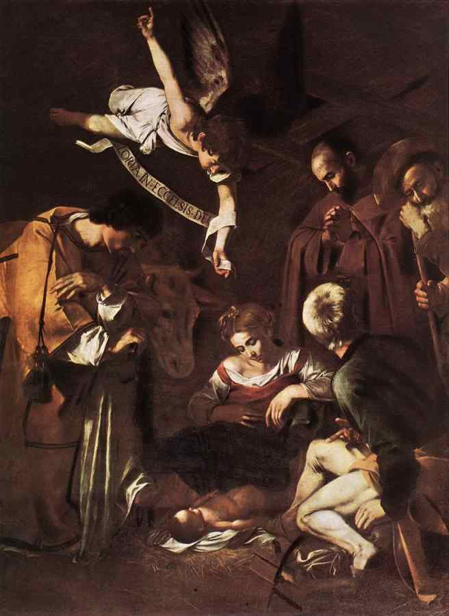800px-Michelangelo_Merisi_da_Caravaggio_-_Nativity_with_St_Francis_and_St_Lawrence_-_WGA04193