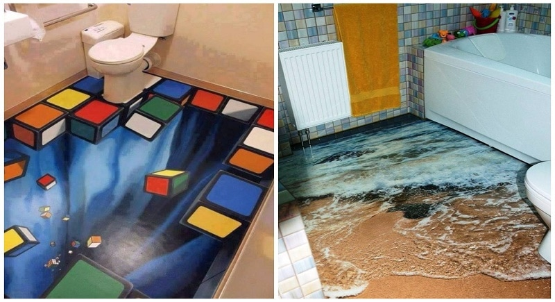 These 3d bathroom floor designs are so insanely awesome for Awesome bathroom 3d floor designs