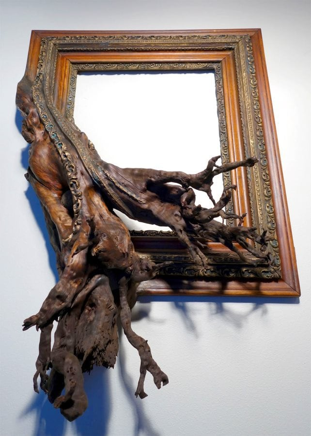 Guy Fuses Twisted Tree Branches With Vintage Picture Frames To Make ...