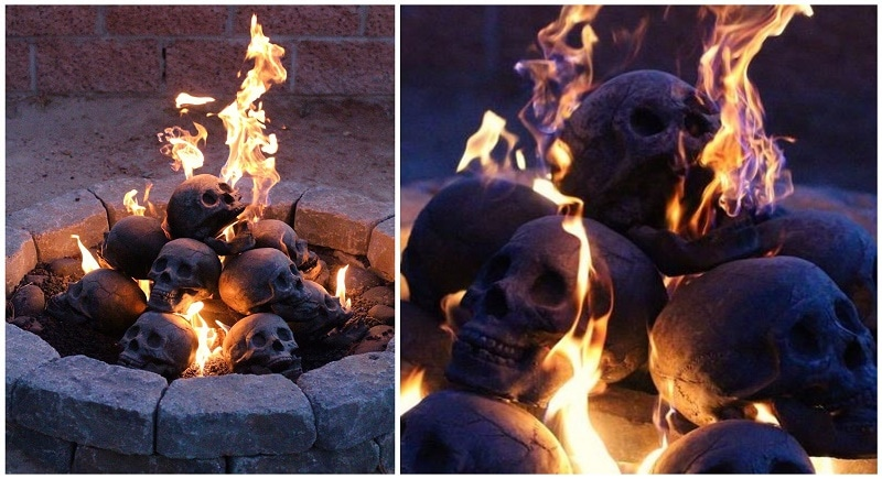 These Creepy Fireproof Human Skull Logs Is The Coolest Fireplace ...