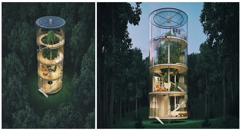Why cut trees down when you can build a tubular glass house around it - The tubular glass house ...